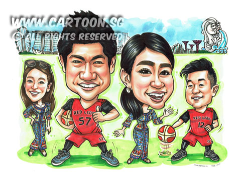 2017-02-16-Caricature-Singapore-group-colleagues-japan-SIA-airlines-uniform-basketball-jersey-sport-farewell-gift.jpg