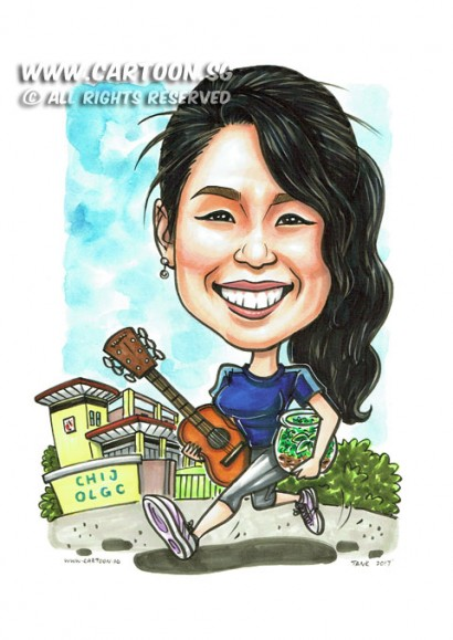 2017-03-01-Caricature-Singapore-farewell-gift-school-guitar-terrarium-sport-running