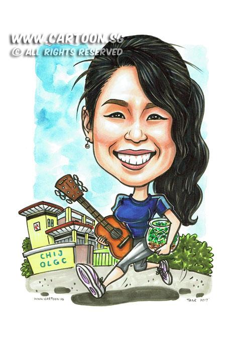 2017-03-01-Caricature-Singapore-farewell-gift-school-guitar-terrarium-sport-running.jpg