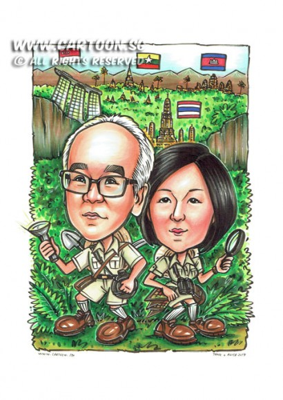 2017-03-09-Caricature-safari-couple-jugle-bangkok-myanmar-cambodia-exploration-expedition