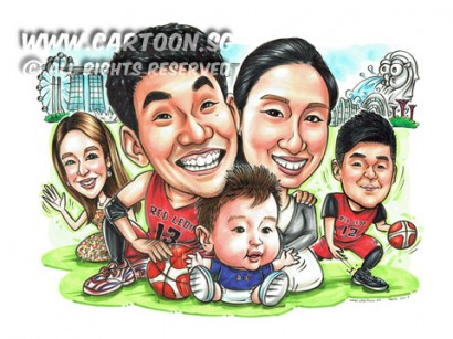 2017-03-10-Caricature-japanese-collegue-friend-family-farewell-gift-basketball