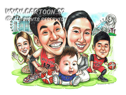 2017-03-10-Caricature-japanese-collegue-friend-family-farewell-gift-basketball.jpg