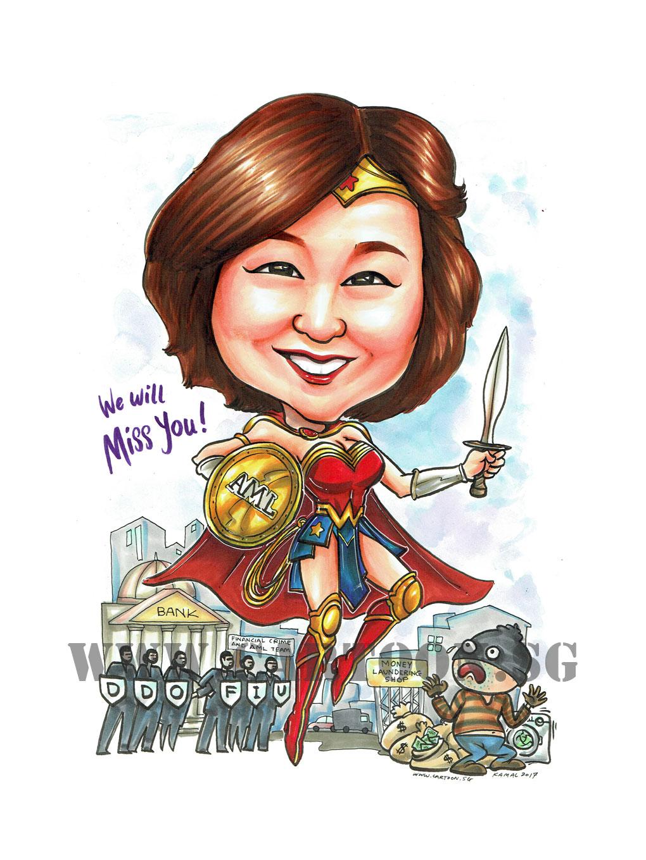 2017-06-10-Caricature-singapore-farewell-gift-boss-bank-wonder-woman-superhero-sexy-pretty-robbery.jpg