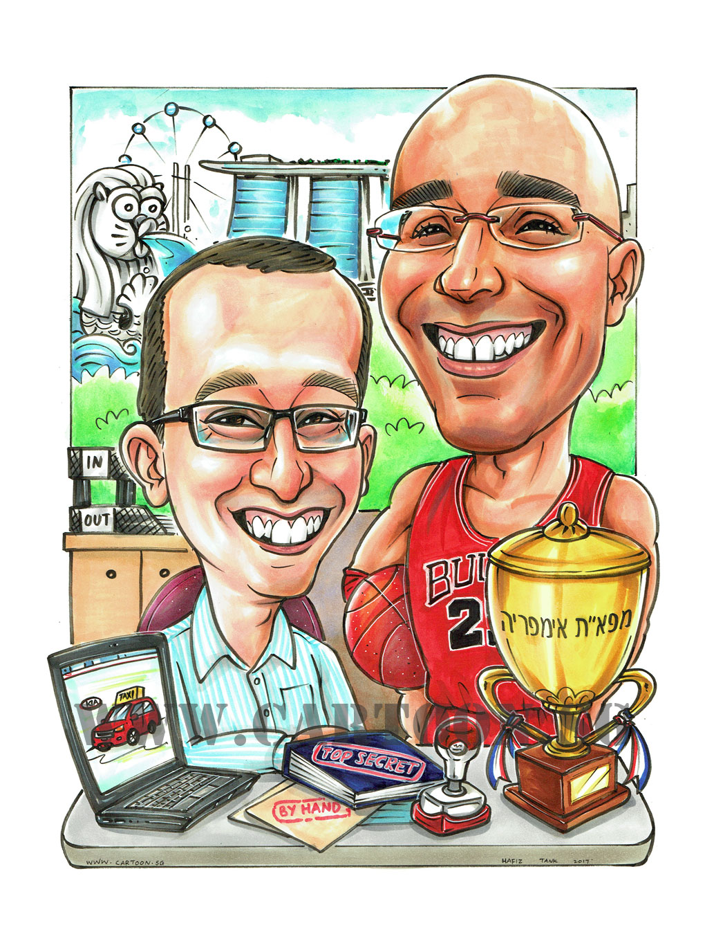 2017-06-14-Caricature-Singapore-farewell-gift-colleague-trophy-top-secret-by-hand-laptop-kia-car-taxi-files-merlion.jpg