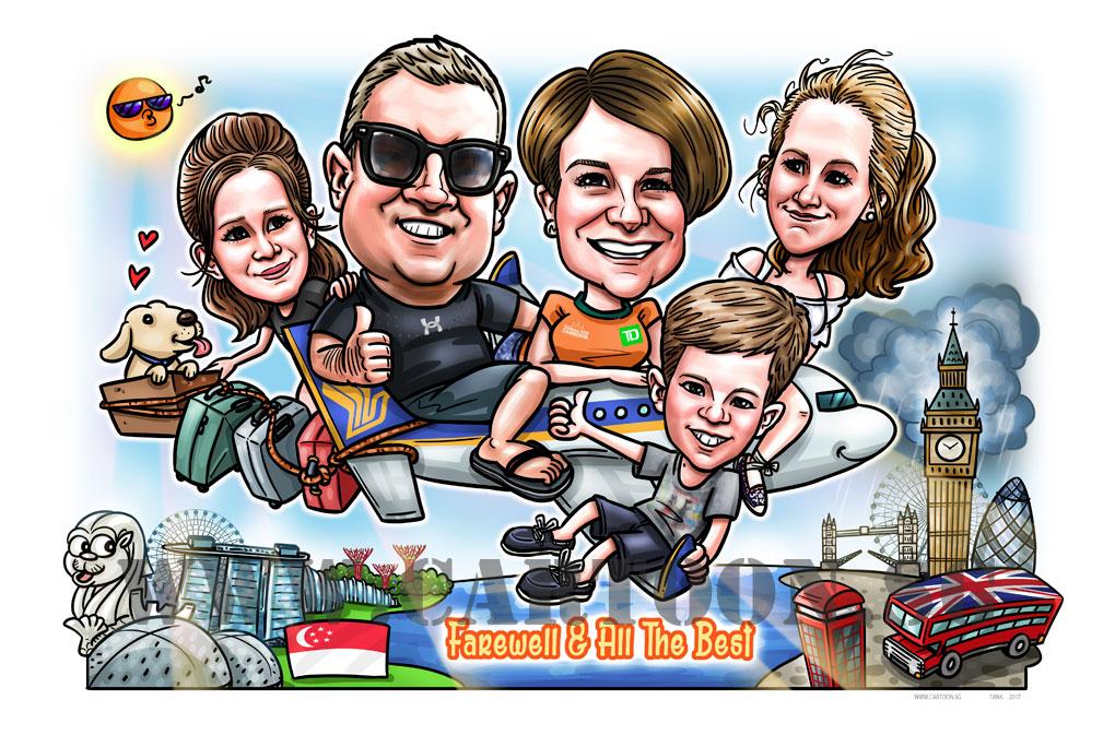 2017-06-20-Caricature-digital-singapore-aeroplane-airline-dog-family-farewell-gift-UK-london-bridge.jpg