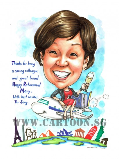 2017-06-22-Caricature-Singapore-retirement-gift-wine-champagne-aeroplane-travel-world-landmarks