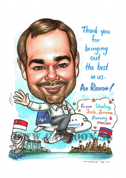 2017-07-03-Caricature-Singapore-farewell-gift-cambodia-airfrance-aeroplane