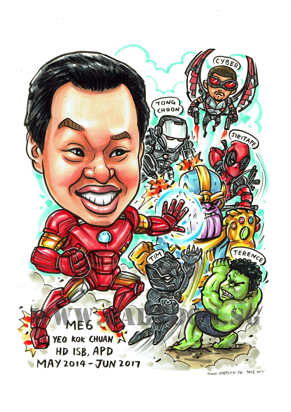 2017-07-07-Caricature-Singapore-superheroes-awesome-black-panther-hulk-marvel-fight-thanos-deadpool-warmachine-ironman.jpg