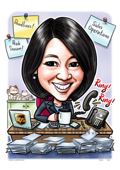 2017-07-11-Caricature-Singapore-office-desk-colleague-memo-pin-up-maneki-neko-mug