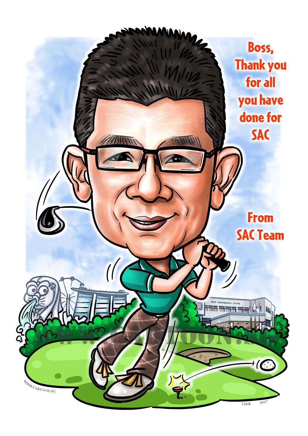 2017-07-12-Caricature-Singapore-digital-farewell-gift-golf-boss.jpg