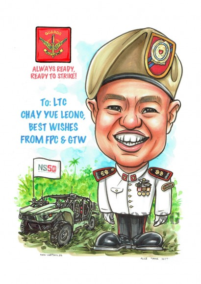 2017-07-19-Caricature-Singapore-SAF-army-uniform-vehicle-farewell-gift-guards-beret-NS50