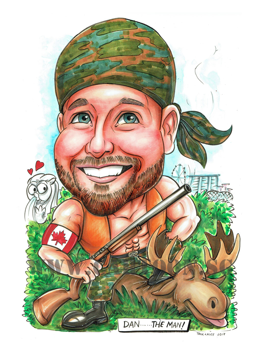 2017-07-21-Caricature-Singapore-hunter-farewell-gift-canada-deer-gun.jpg