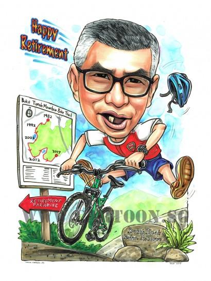 2017-07-21-Caricature-Singapore-moutain-bike-arsenal-jersey-retirement-gift-bukit-timah