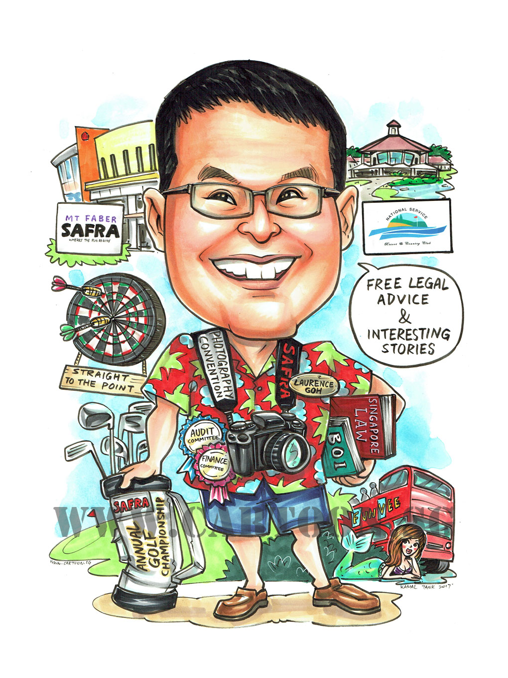 2017-07-21-Caricature-Singapore-safra-mermaid-golf-darts-bus-camera.jpg