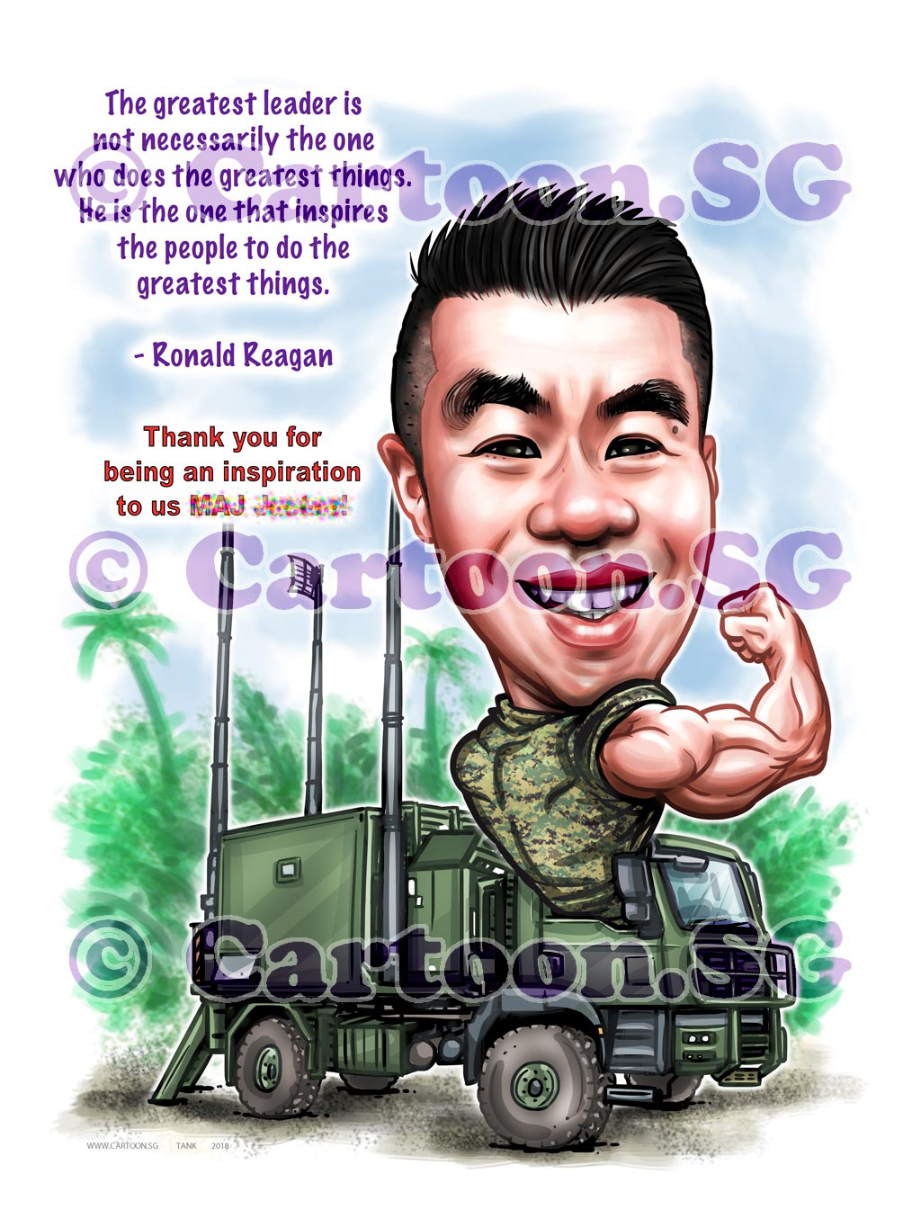 2018-01-30-Caricature-Singapore-digital-boss-gift-army-vehicle-uniform-saf-flex-muscle.jpg