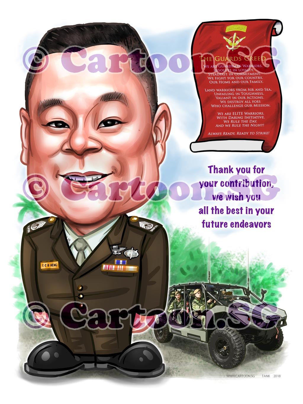 2018-02-14-Caricature-Singapore-digital-farewell-boss-gift-army-SAF-guard-vehicle-uniform.jpg