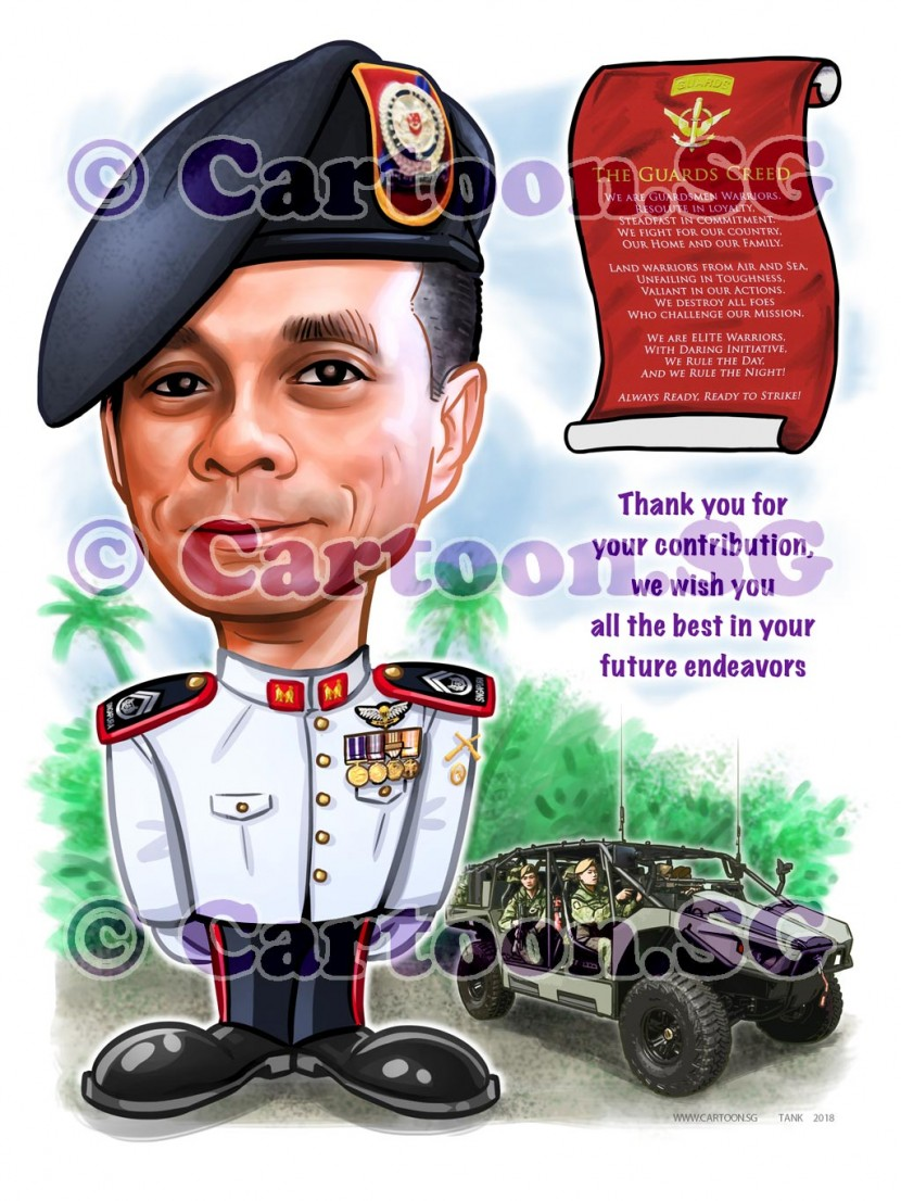 Soldier, drawing, art, sketch , caricature, Singapore armed forces.