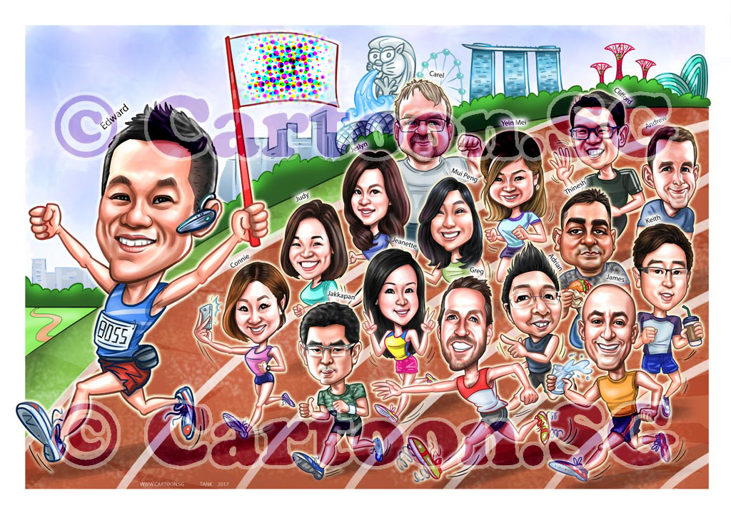 20180310-Caricature-Singapore-digital-group-running-marathon-boss-farewell.jpg