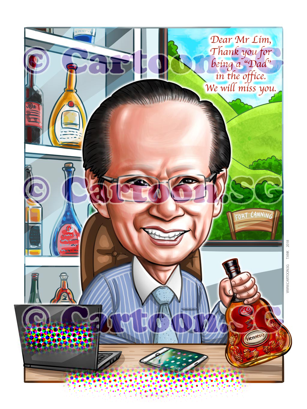 20180317-Caricature-Singapore-digital-boss-farewell-bottles-wine-alcohol-fort-canning.jpg