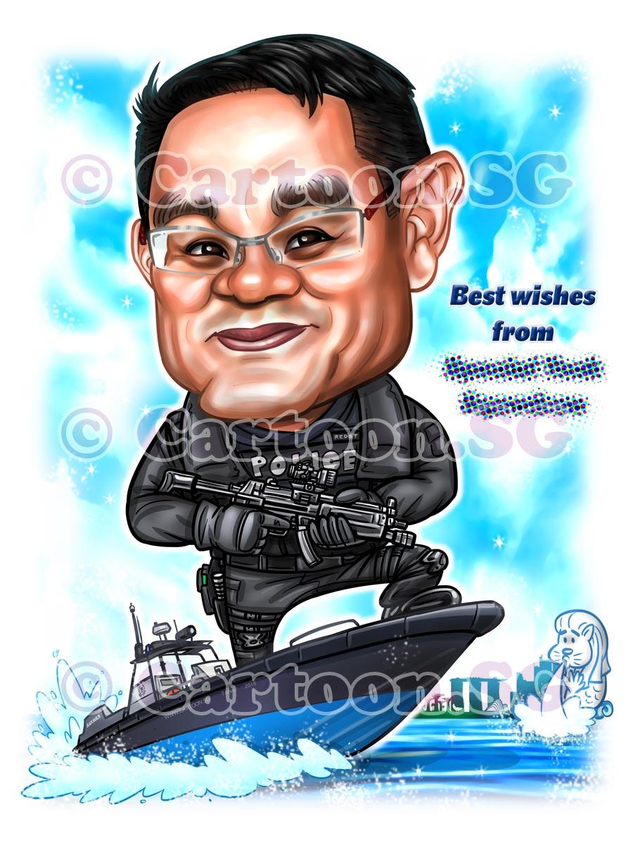 Commando on a boat