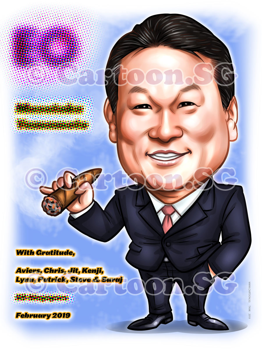 20190130-Caricature-Singapore-digital-japanese-colleague-EO-Masataka-yamamoto-cigar