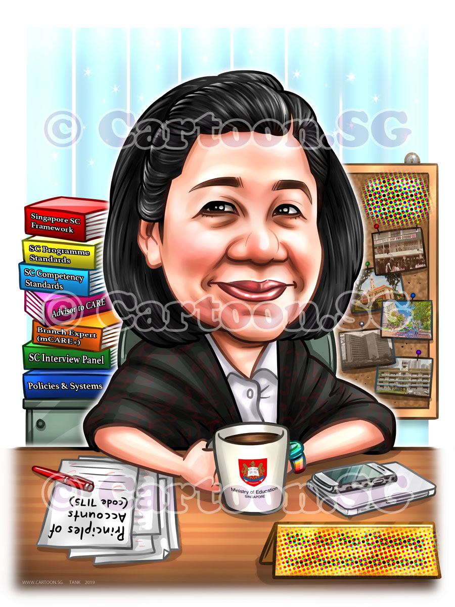 20190208-Caricature-Singapore-digital-MOE-retirement-gift-office-desk