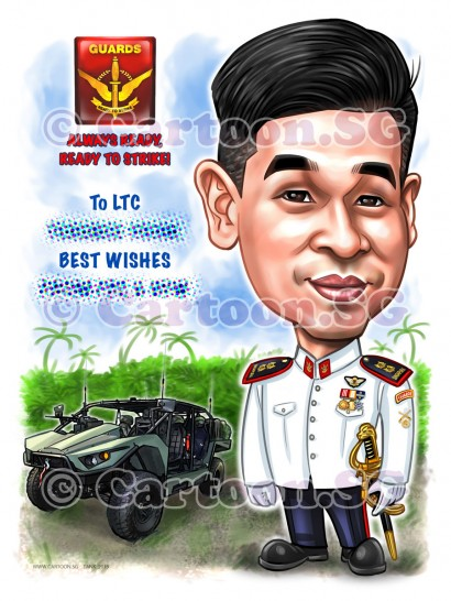 20190326-Caricature-Singapore-digital-SAF-army-vehicle-guards-medals-uniform