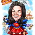 20190411-Caricature-Singapore-digital-superwoman-colleague-bakery-cake-multitasks-admin