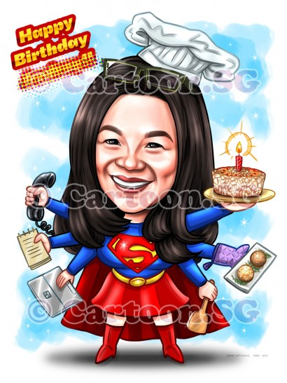20190411-Caricature-Singapore-digital-superwoman-colleague-bakery-cake-multitasks-admin