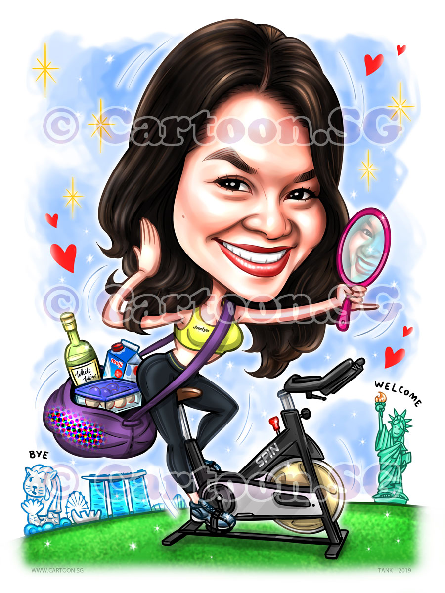 20190612-Caricature-Singapore-digital-gym-spin-bike-milk-wine-newyork-eggs
