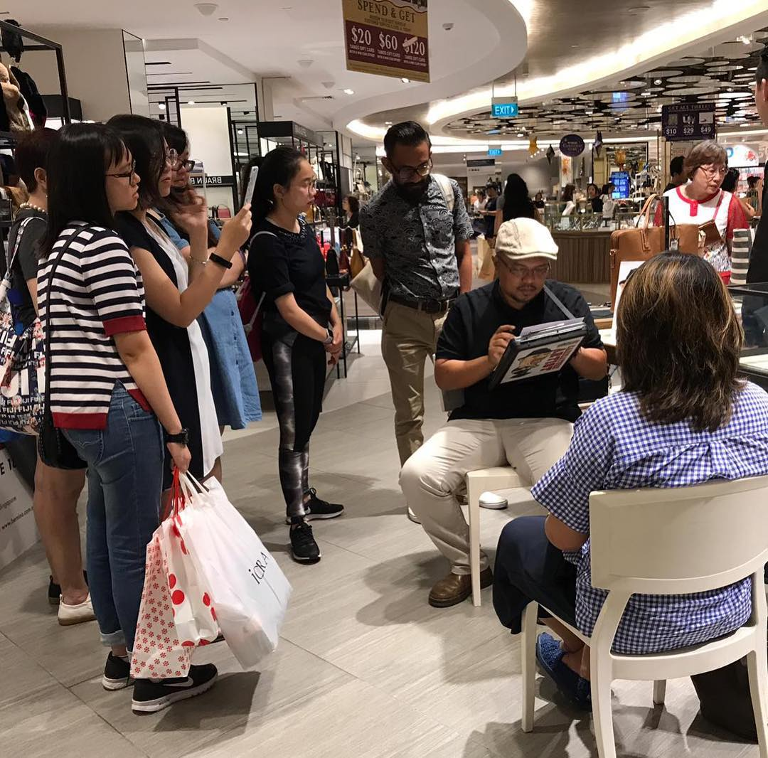 Live Caricature event at shopping mall
