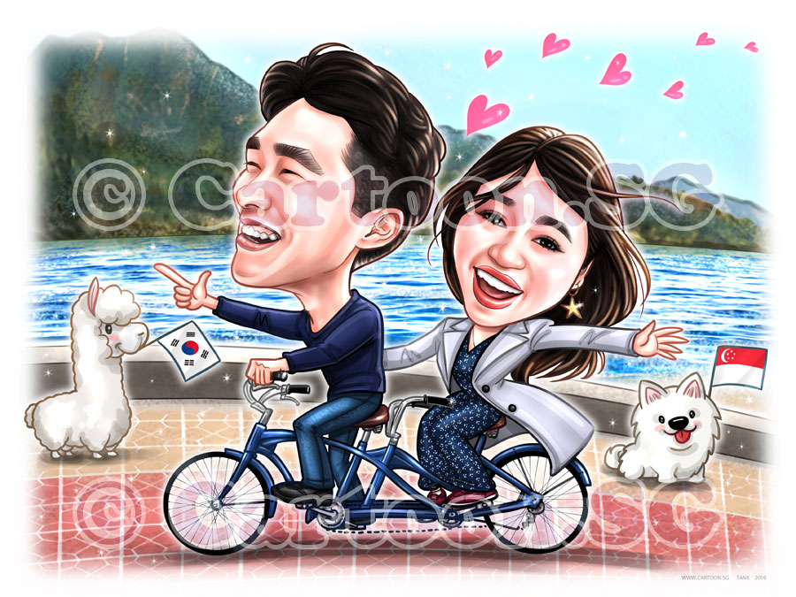 20191215-Caricature-Singapore-digital-couple-bike-korea-beach-moutain-love