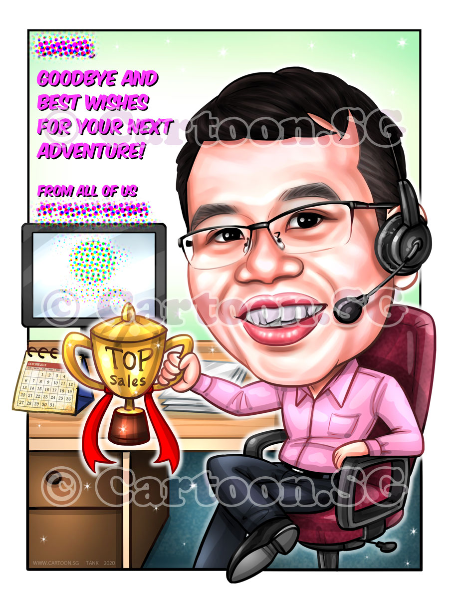 20200122-Caricature-Singapore-digital-farewell-gift-trophy-sales-headphone-office-desk