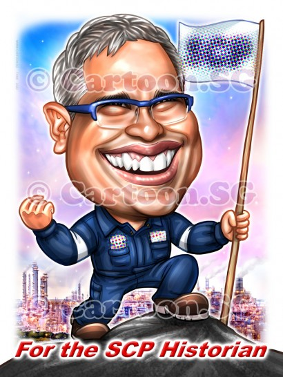 20200206-Caricature-Singapore-digital-climb-hiking-flag-chemical-plant-factories-uniform