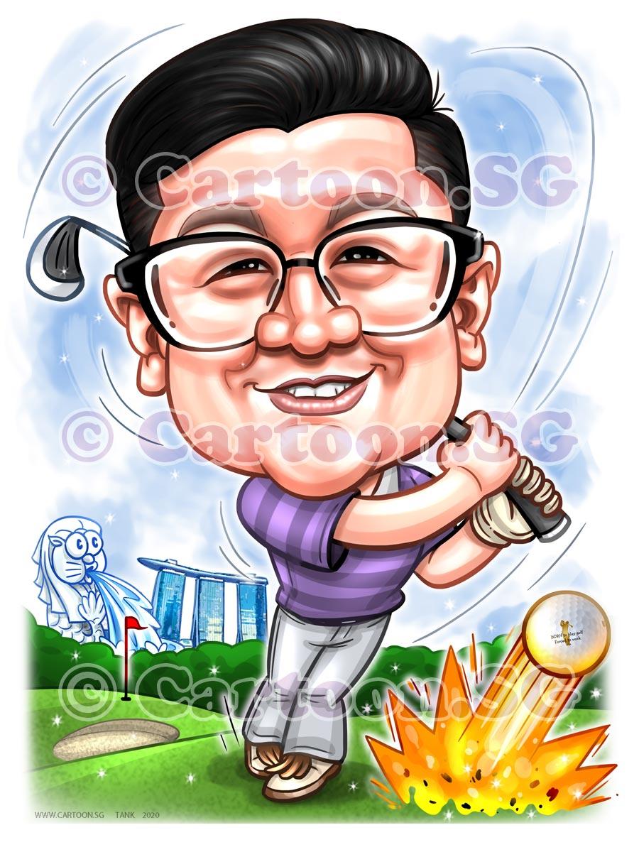 Farewell golfer boss caricature