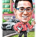 Teacher sports car school cartoon sketch