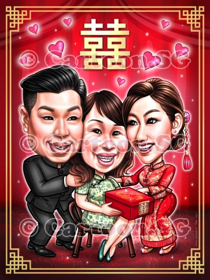Chinese wedding parent love caricature sketch