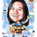 Marathon Selfie Guitar Lady Happy Vibes