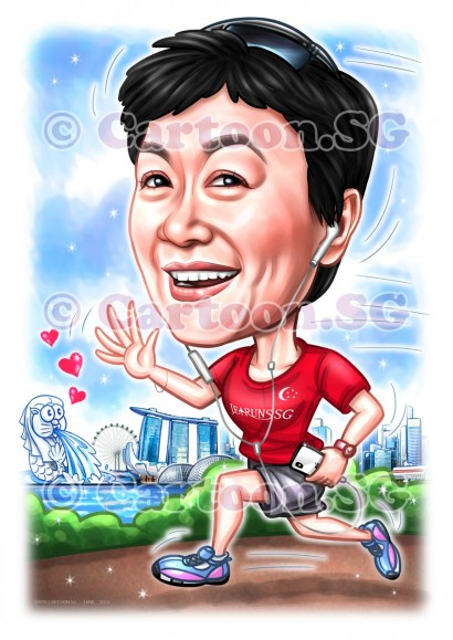 Sport woman marathon lifestyle fit cartoon caricature