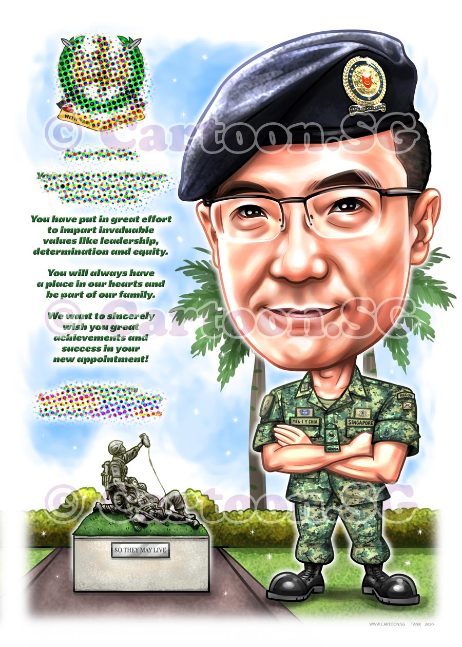 Army uniform caricature cartoon