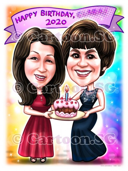 birthday cake girls ladies celebration memories caricature