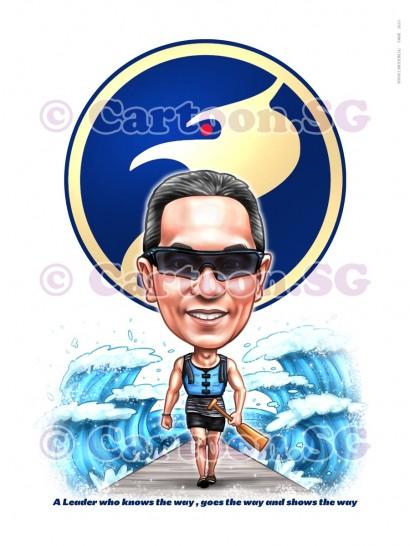 blue bird logo man walking through waves sport paddle sketch caricature