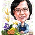 mugshot florist lady boss flowers spectacle caricature sketch
