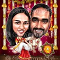 Indian wedding gift memories sketch couple love caricature