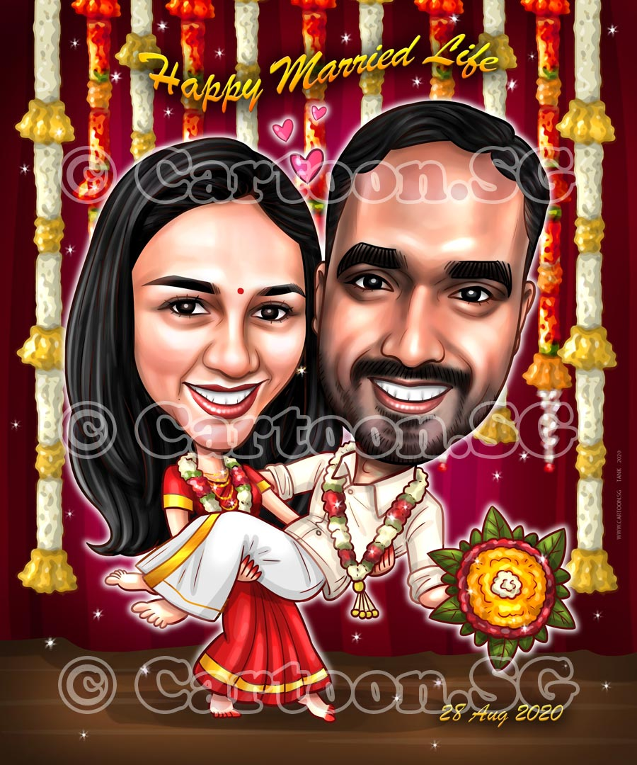 Indian wedding gift memories sketch couple love caricature