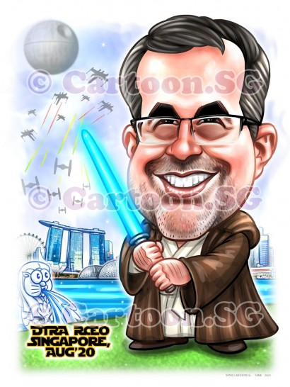 blue light saber star wars singapore landscaper boss cartoon caricature