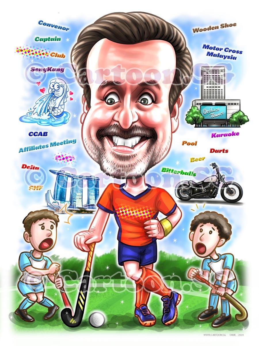 Hockey player harley motorbike SIngapore landscapes cartoon caricature