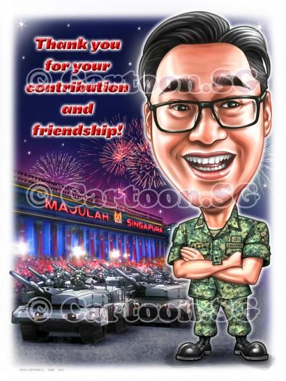 Army uniform tanks appreciation warrant officer tanks parade sketch caricature