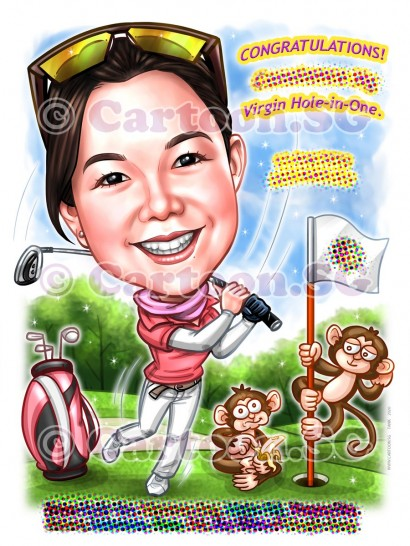 Lady golfer champs the game sketch cartoon caricature