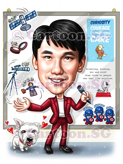 teacher puppy marvel hero caricature cartoon sketch funny